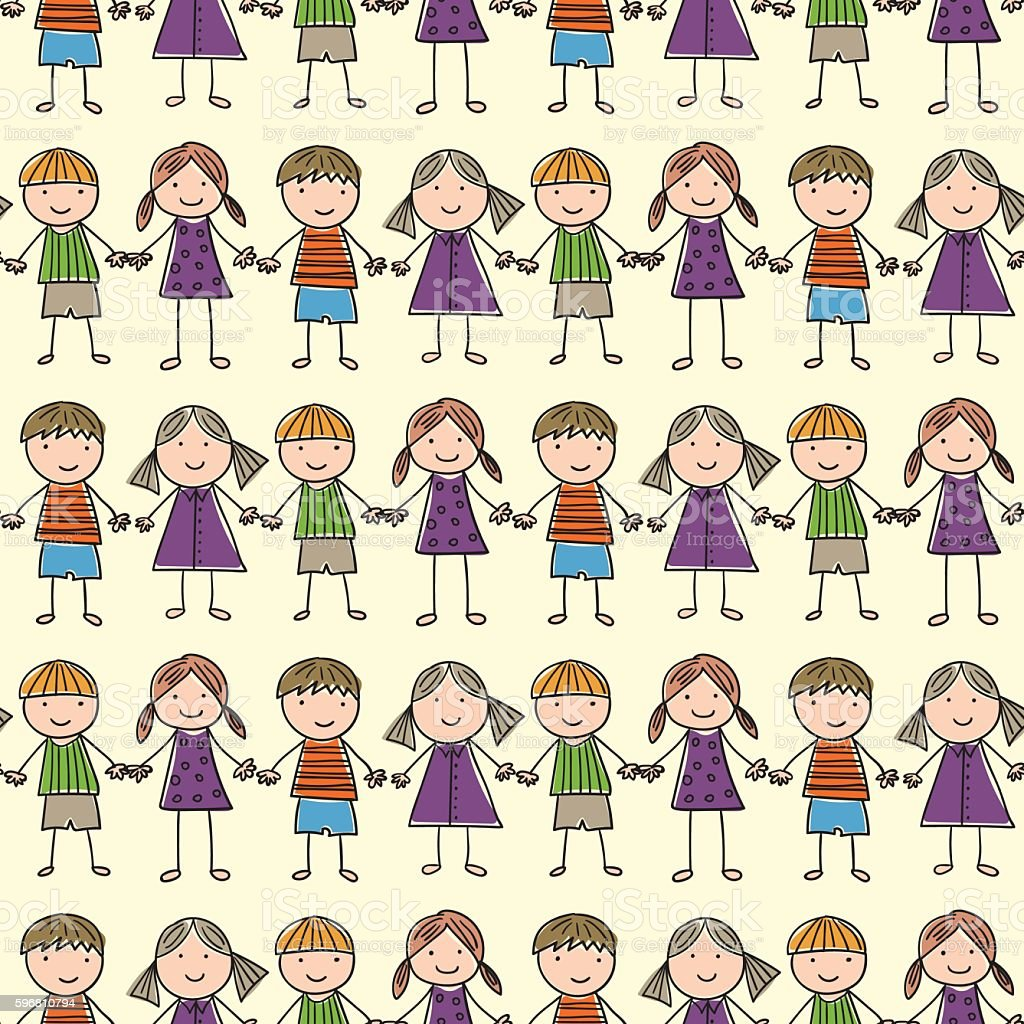 seamless pattern with of children royalty-free stock vector art