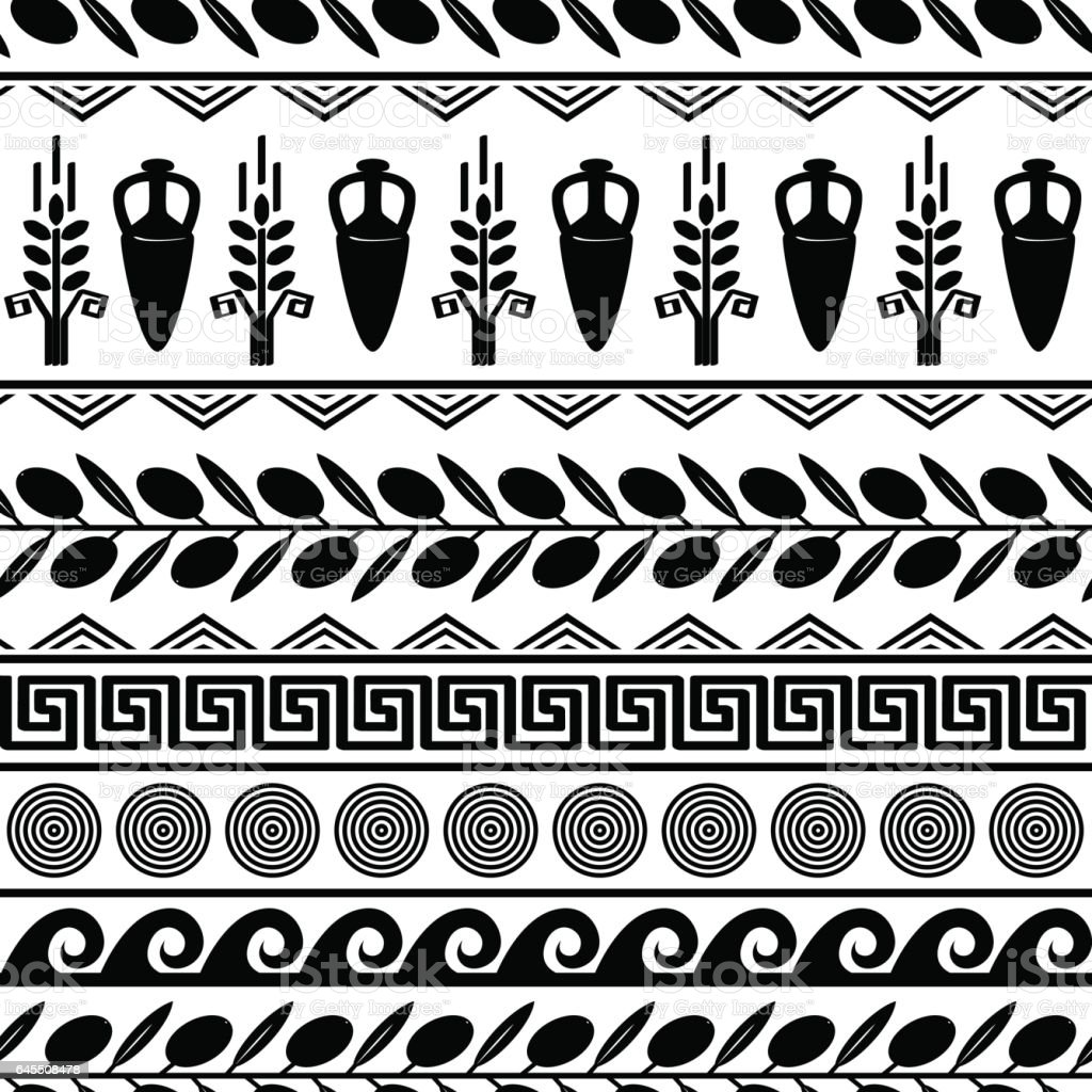 Seamless pattern with olives, wheat, amphora, and greek symbols. vector art illustration