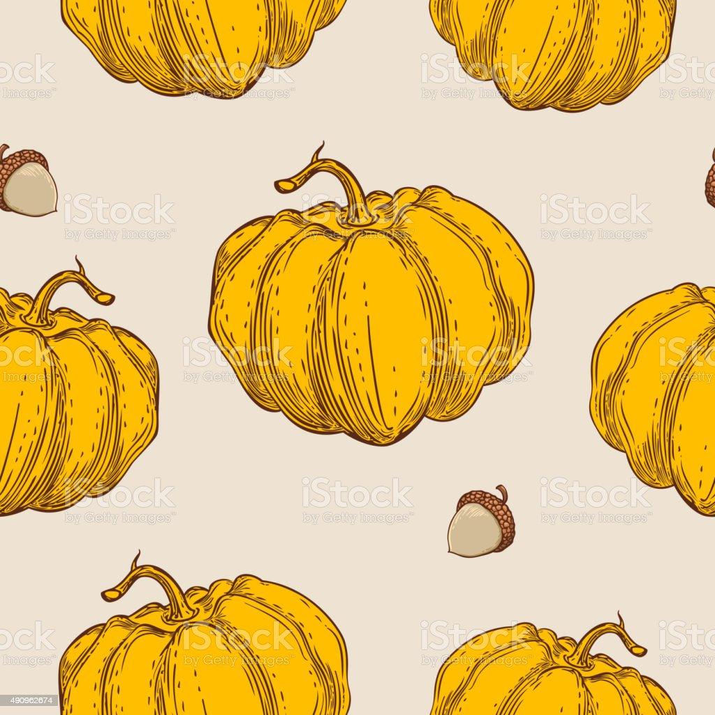 Seamless pattern with orange pumpkin vector art illustration