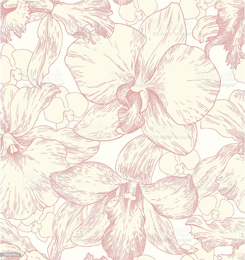 seamless pattern with orchids vector art illustration