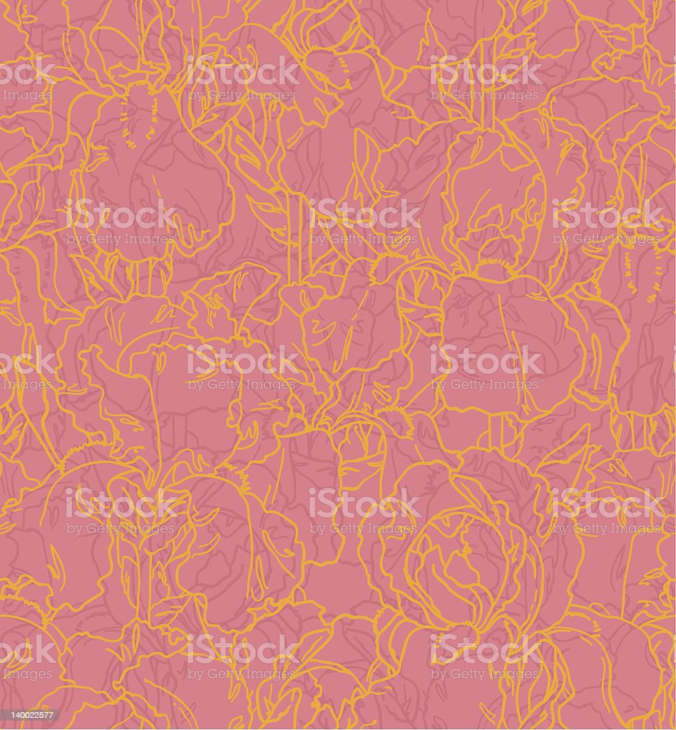 Seamless pattern with outlined irises royalty-free stock vector art