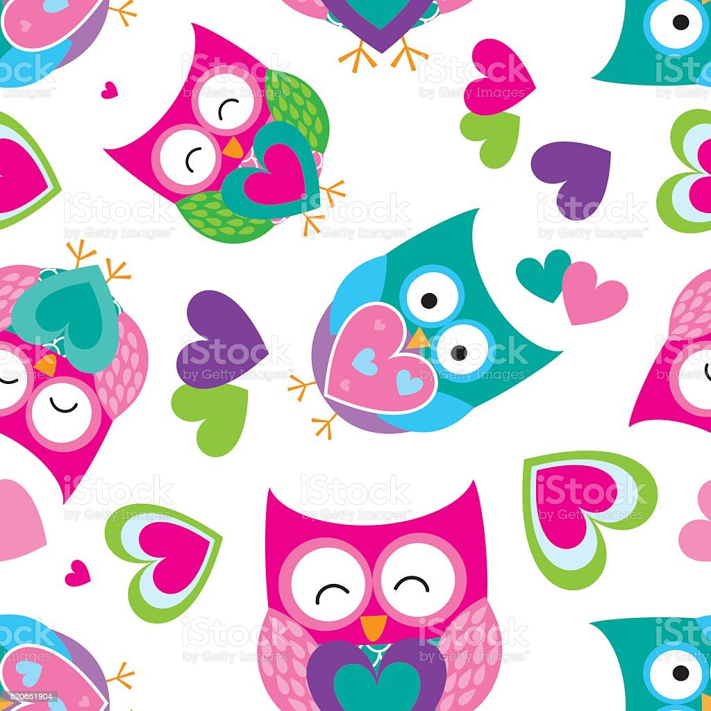 Seamless pattern with owls design vector art illustration
