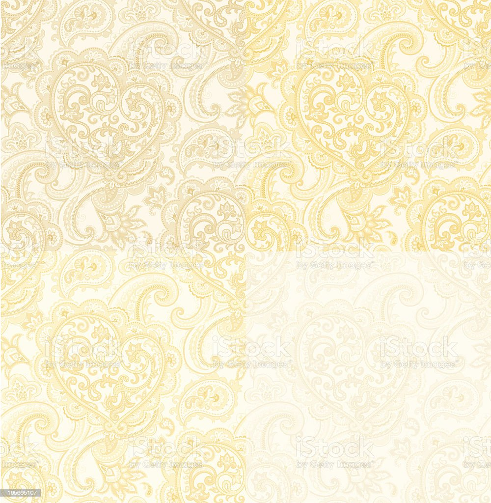 seamless pattern with Paisley and Heart. beige-gold color vector art illustration