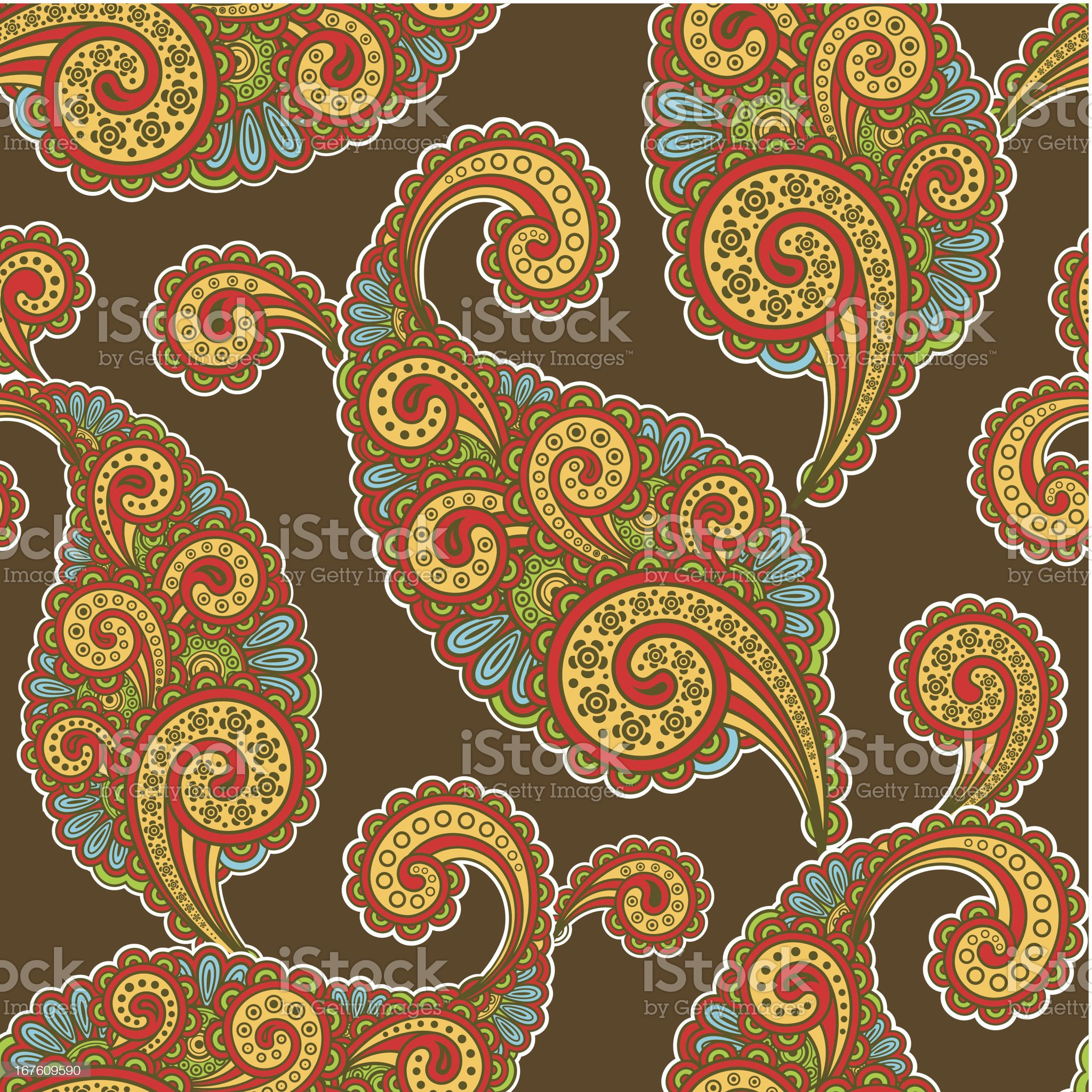 seamless pattern with paisley royalty-free stock vector art