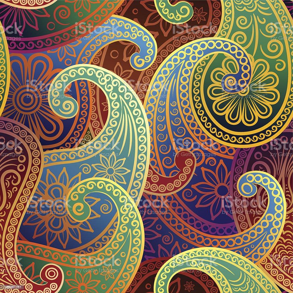 seamless pattern with paisley vector art illustration