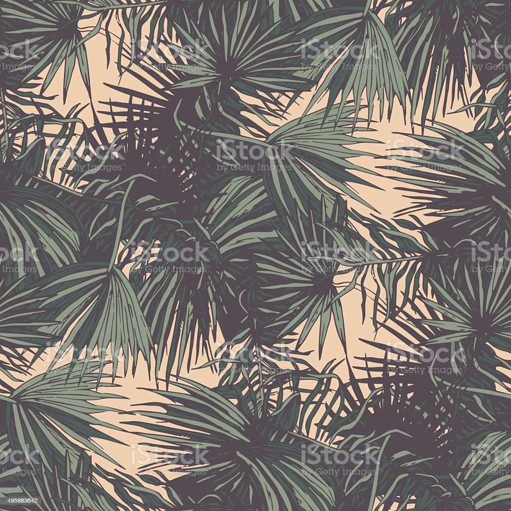 Seamless pattern with palm leaves, dark vector art illustration