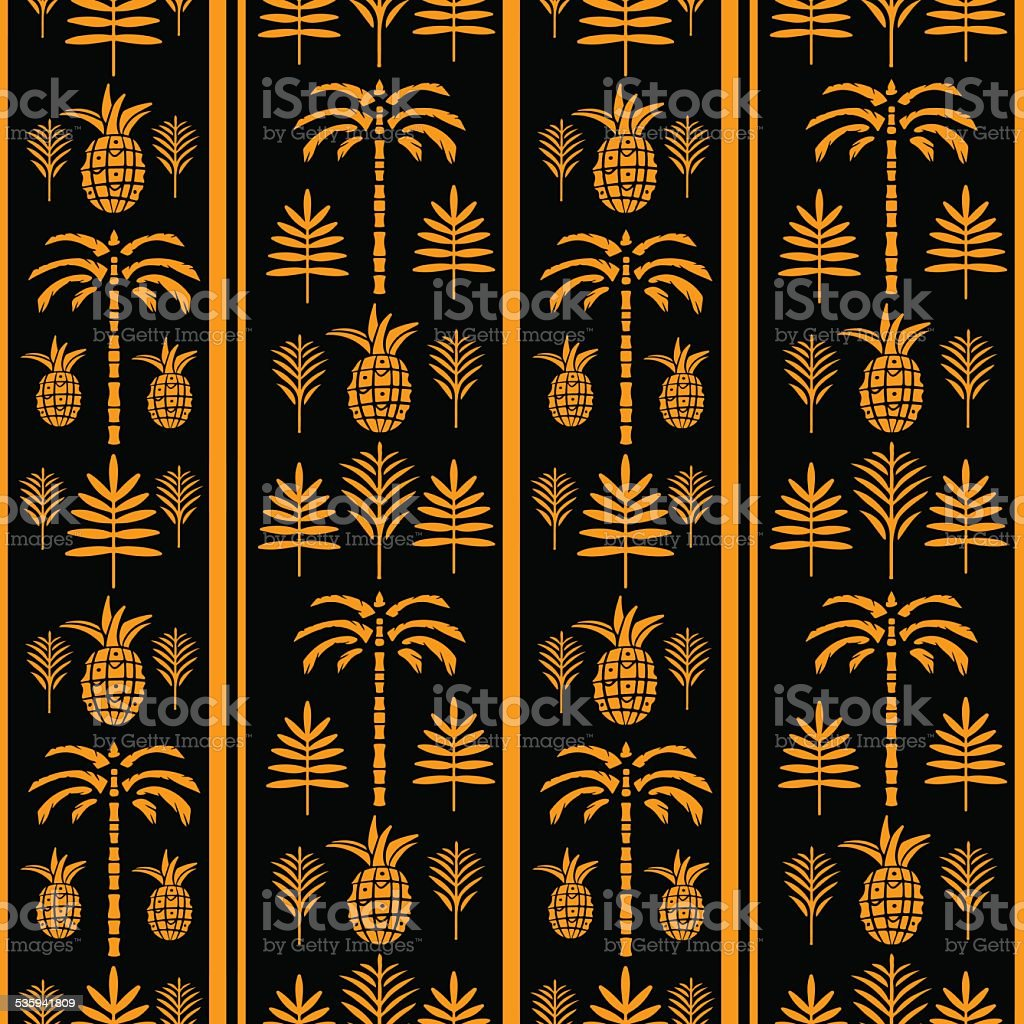 Seamless pattern with palm trees and pineapples, leaves vector art illustration