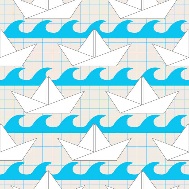 Seamless Pattern With Paper Boats On The Waves Vector Art Illustration