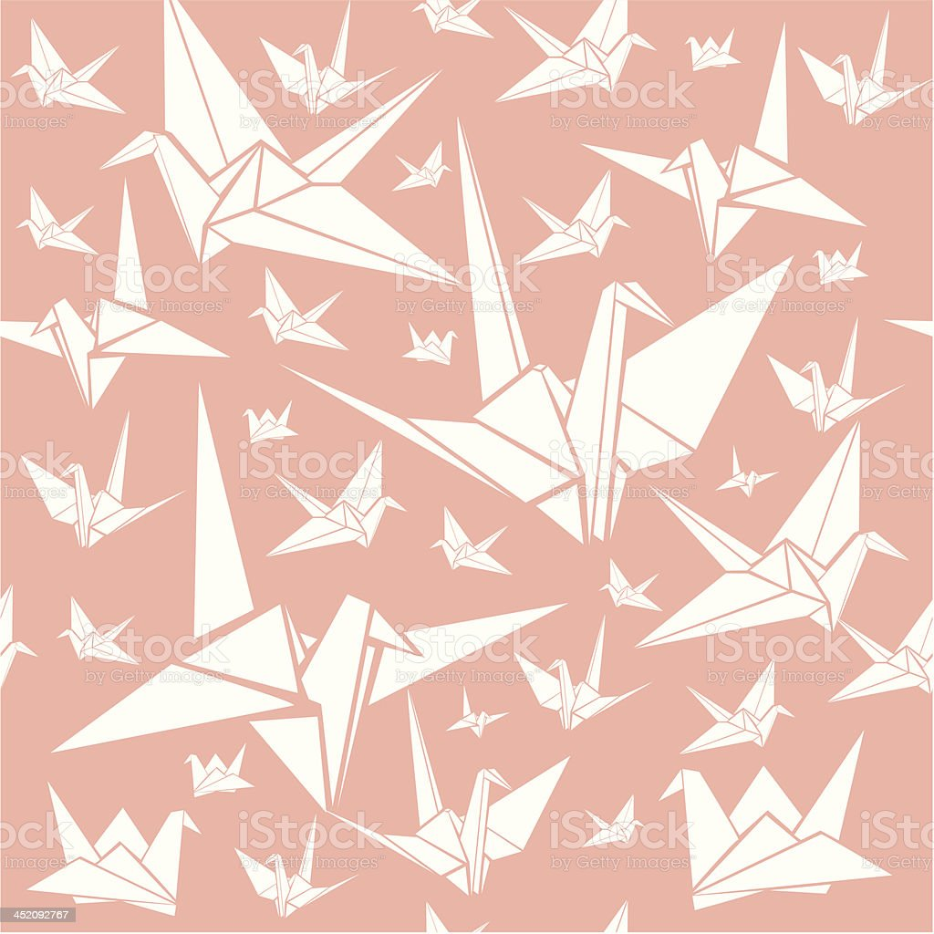 Seamless pattern with paper cranes royalty-free stock vector art