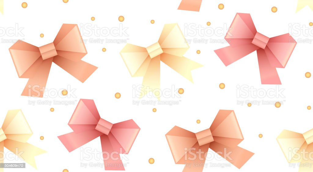 Seamless pattern with paper origami bows and dots vector art illustration