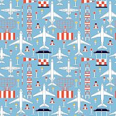 seamless pattern with passenger airplanes and aerodrome facilities