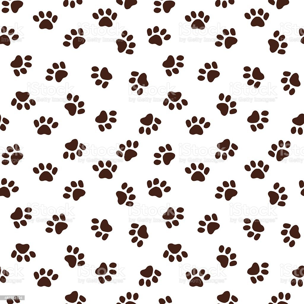 Seamless pattern with paw footprints vector art illustration