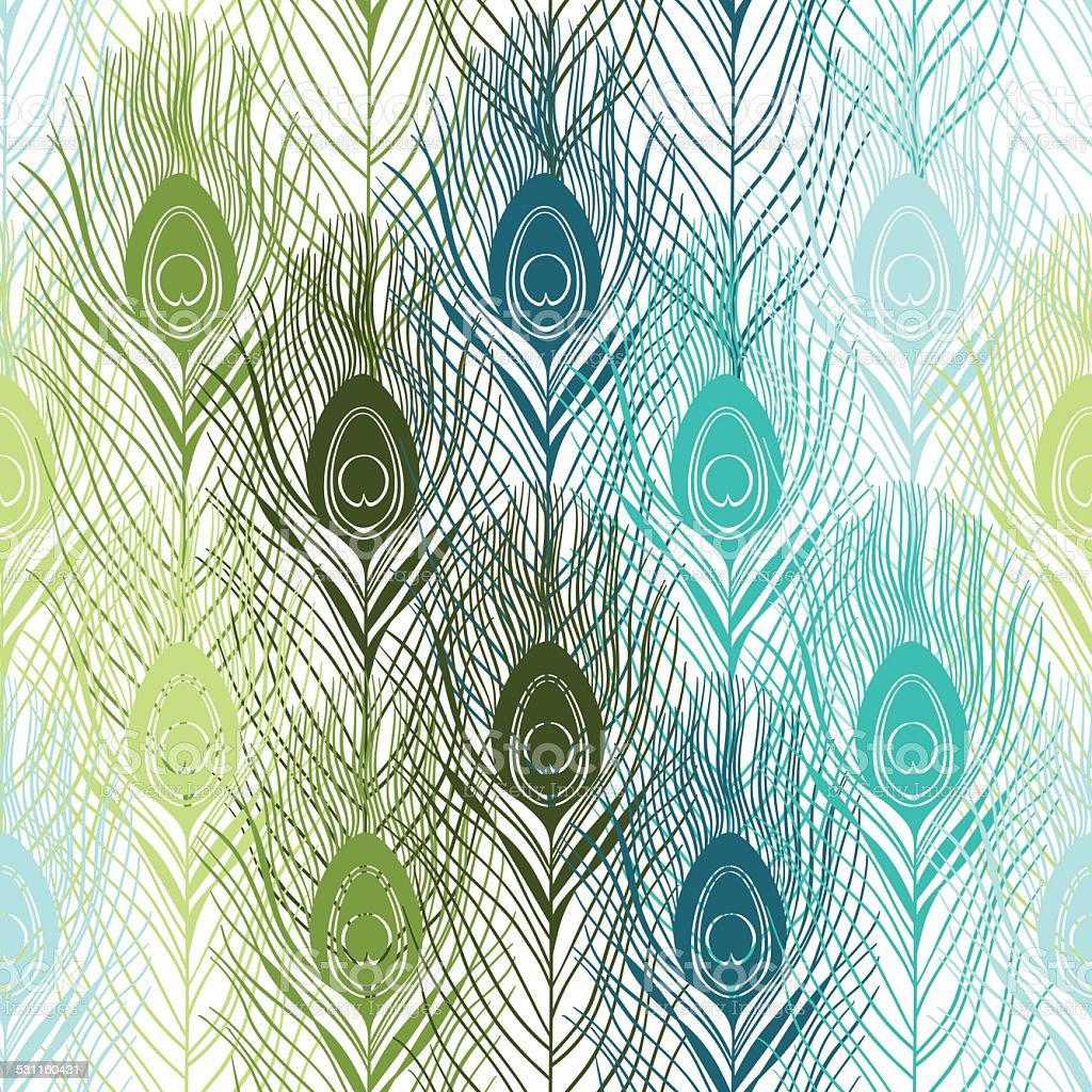Seamless pattern with peacock feathers. Hand-drawn vector background. vector art illustration