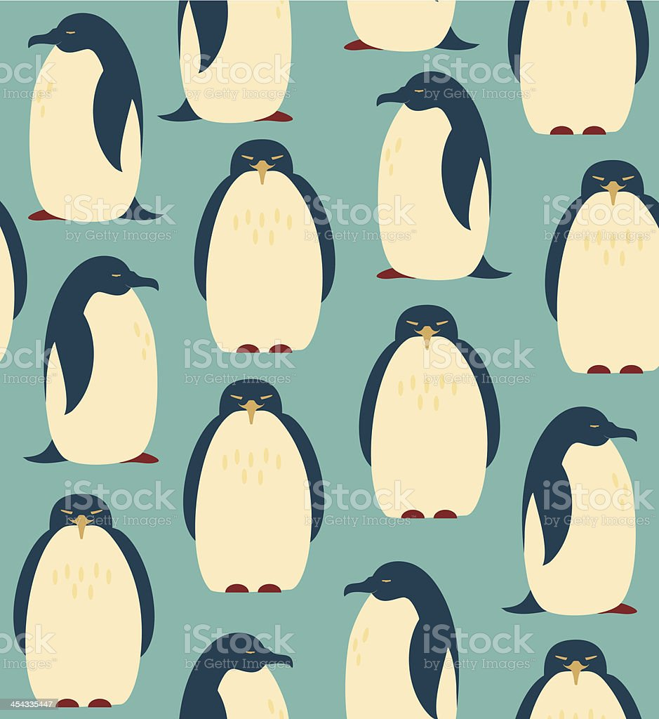 Seamless pattern with penguins royalty-free stock vector art