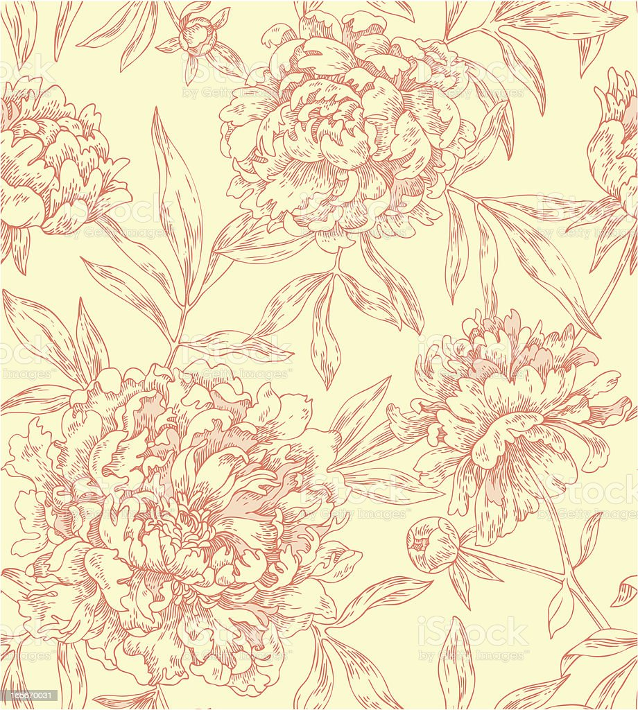 seamless pattern with peonies vector art illustration