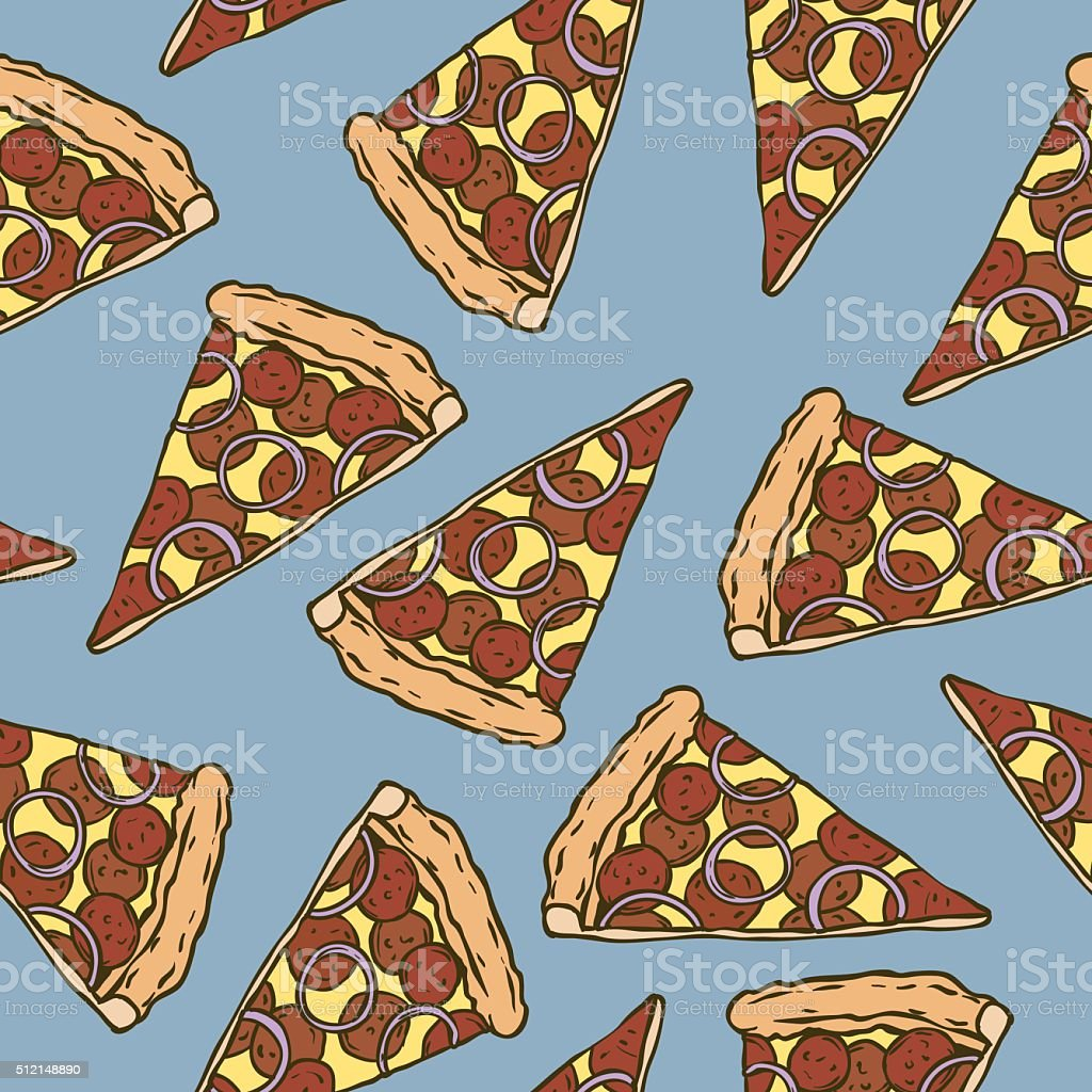 Seamless Pattern with Pepperoni Pizza Slices vector art illustration