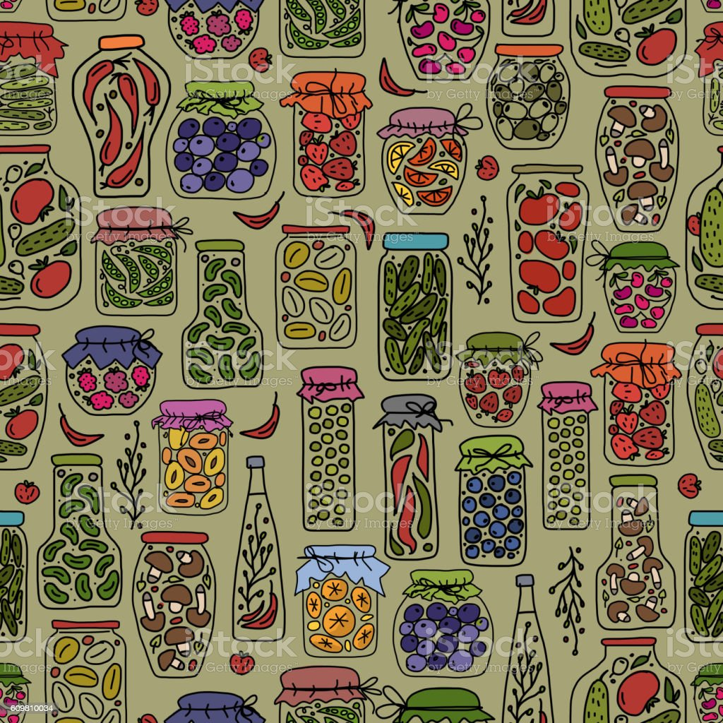 Seamless pattern with pickle jars fruits and vegetables vector art illustration