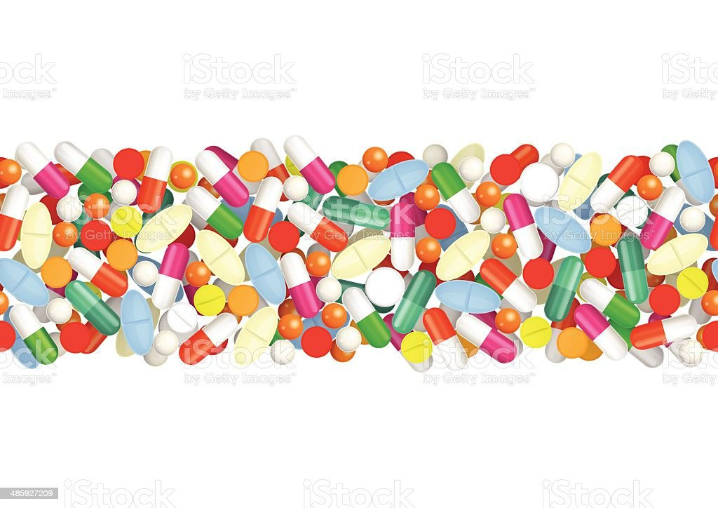 Seamless pattern with pills royalty-free stock vector art