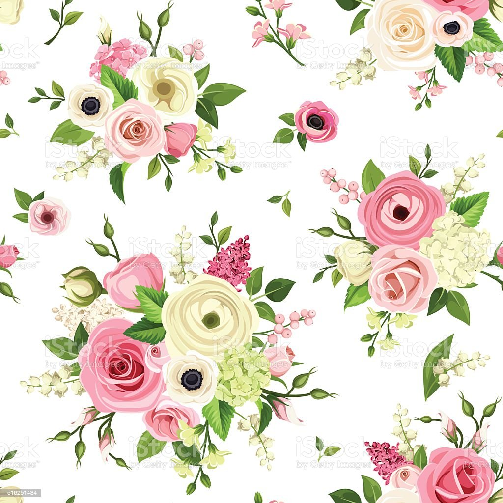 Seamless pattern with pink and white flowers. Vector illustration. vector art illustration