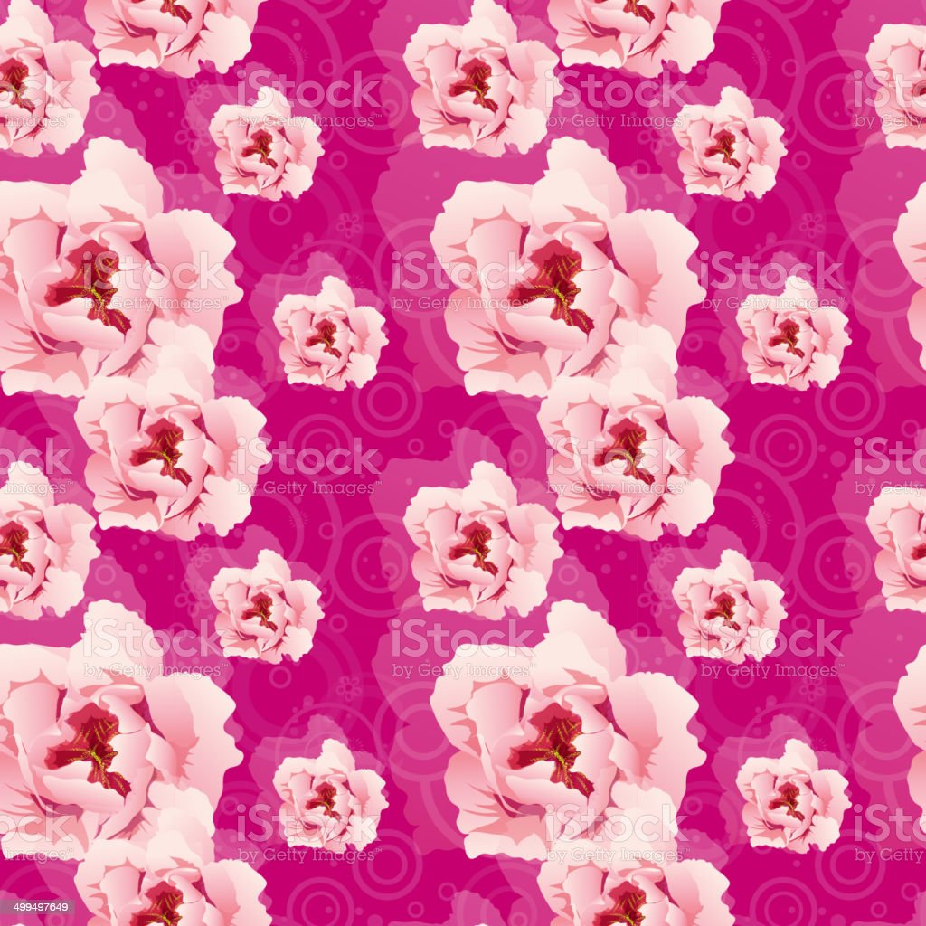 Seamless pattern with pink peonies vector art illustration