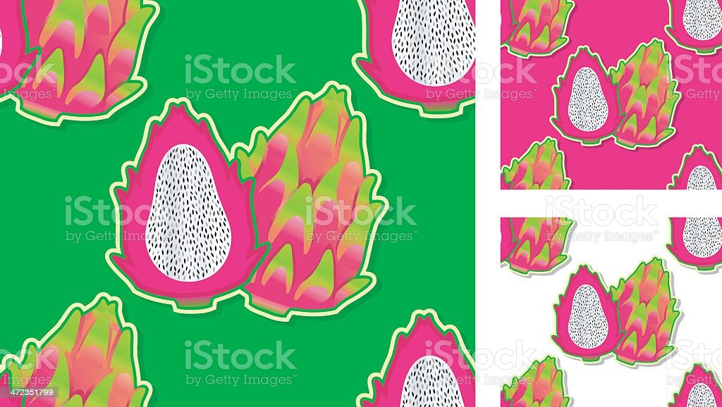 seamless pattern with pink pitahayas. royalty-free stock vector art