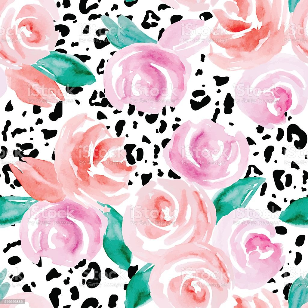Seamless pattern with abstract watercolor flowers. Pink roses on a...