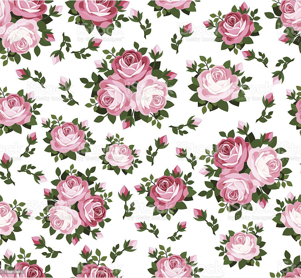 Seamless pattern with pink roses. Vector illustration. royalty-free stock vector art