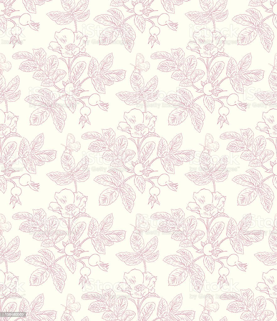 Seamless pattern with pink wild roses on cream background  vector art illustration