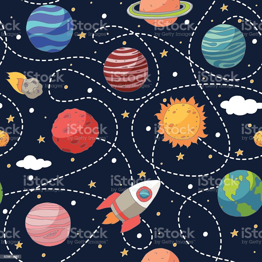 Seamless pattern with planets and the sun vector art illustration