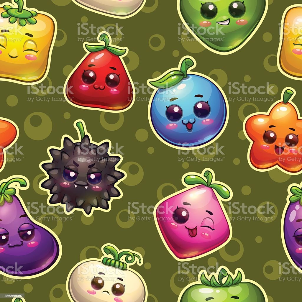 Seamless pattern with plant characters vector art illustration