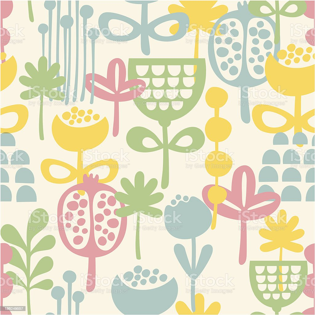 Seamless pattern with plants. vector art illustration