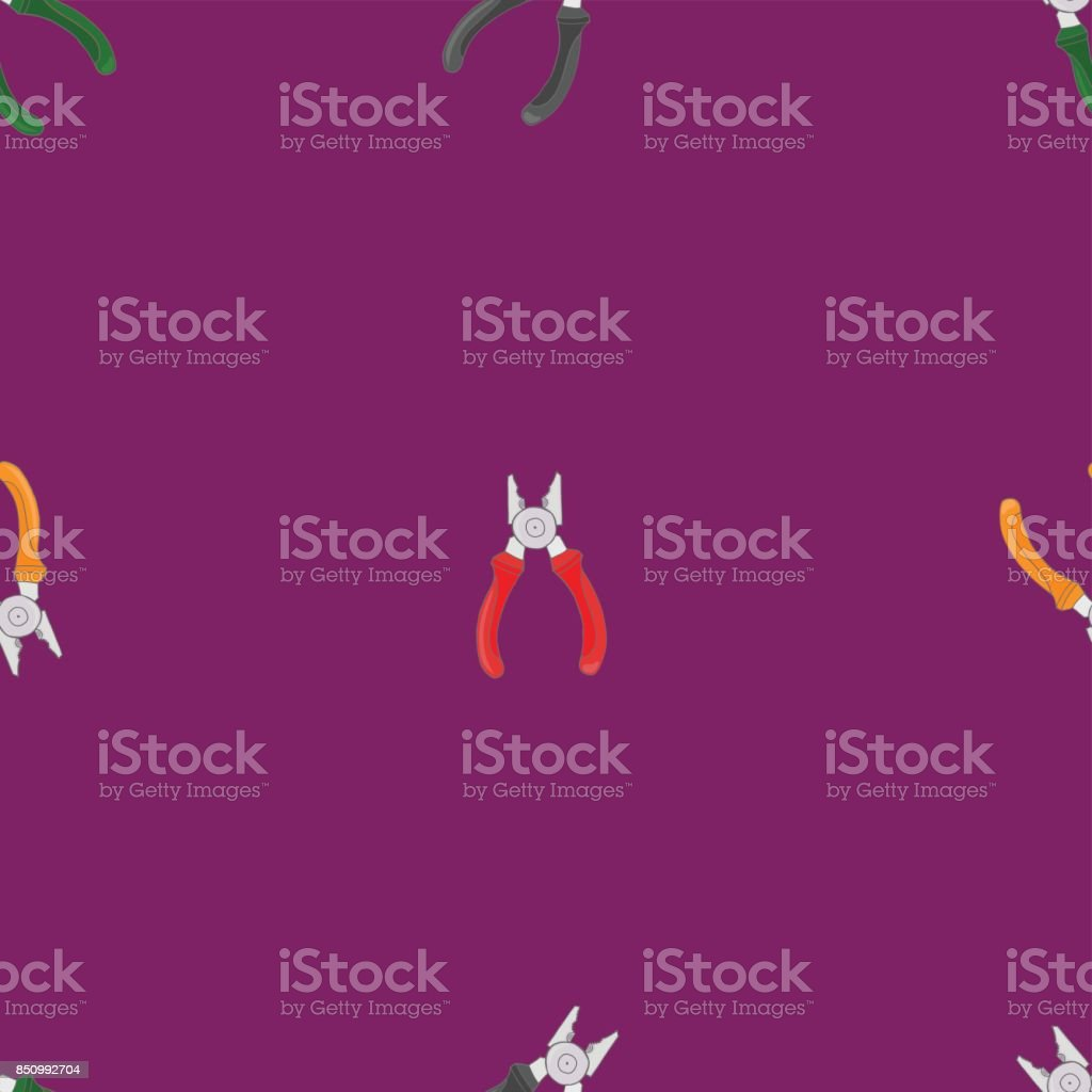 Seamless pattern with pliers. vector art illustration