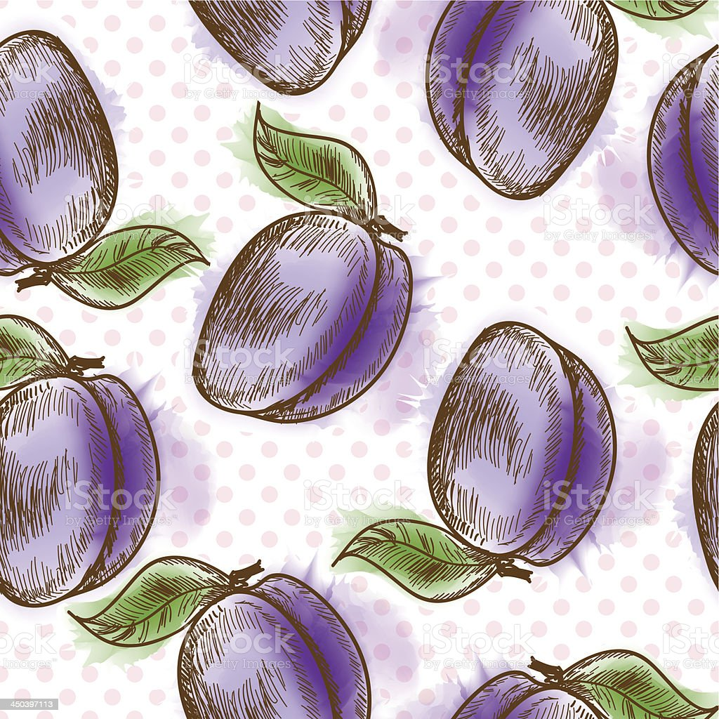 Seamless pattern with plum royalty-free stock vector art
