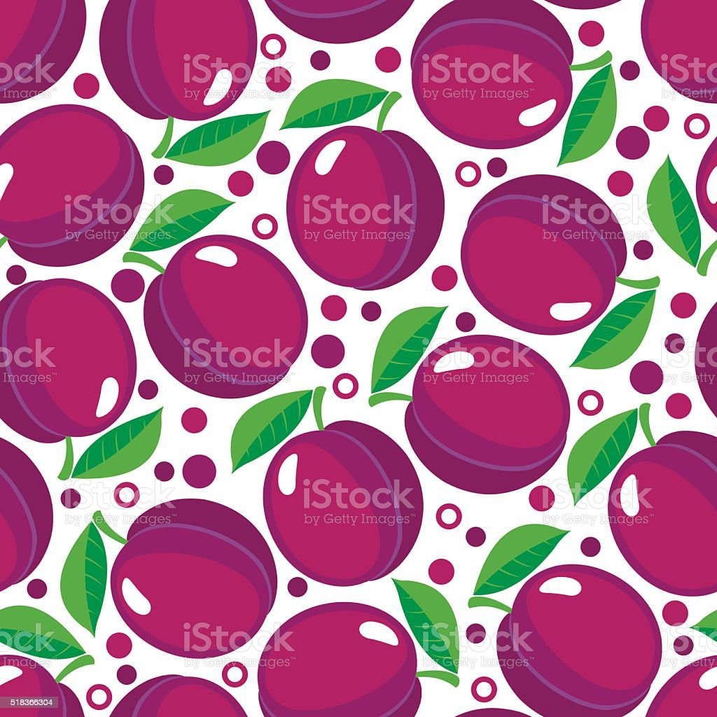 Seamless pattern with plums. vector art illustration