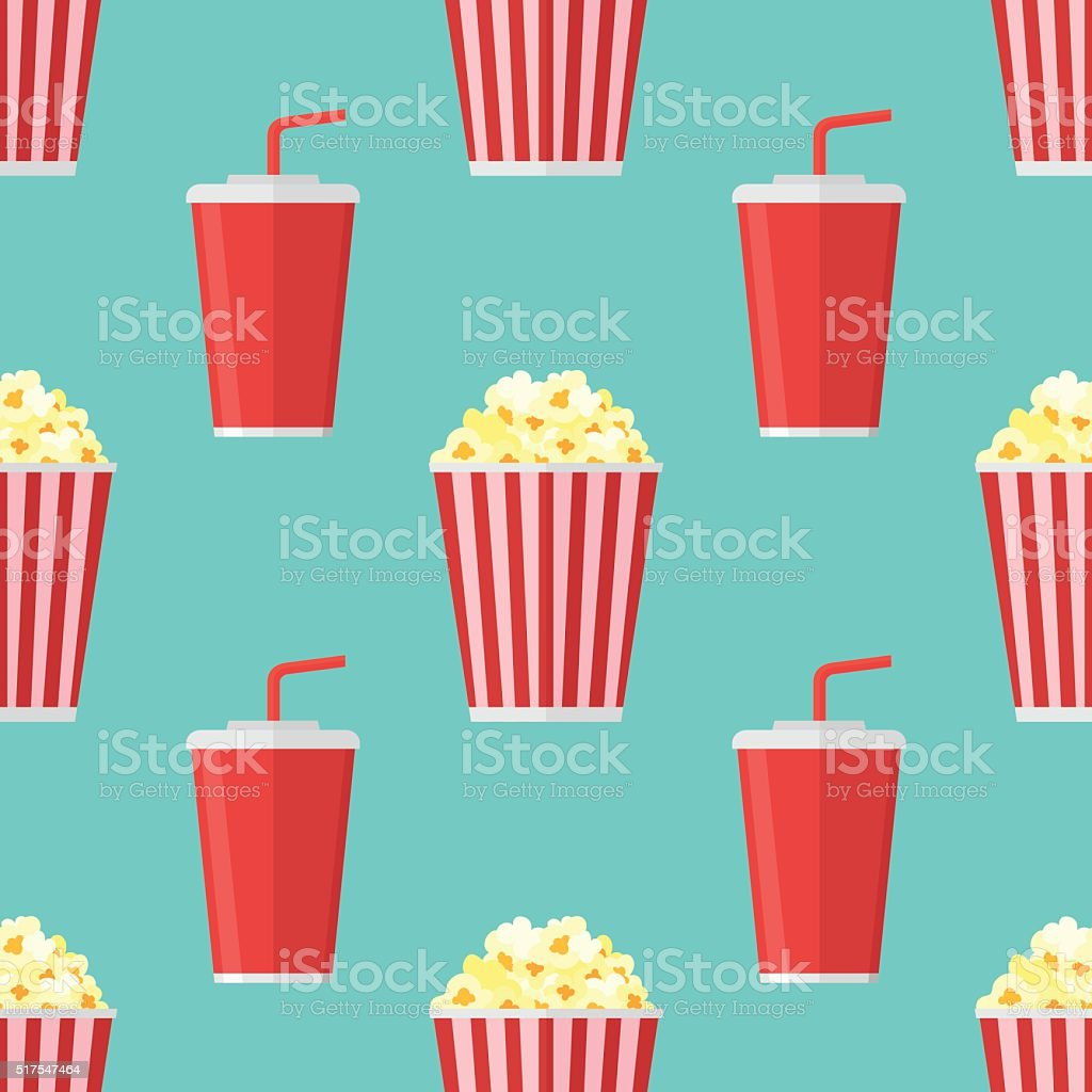 Seamless pattern with popcorn and soda takeaway vector art illustration
