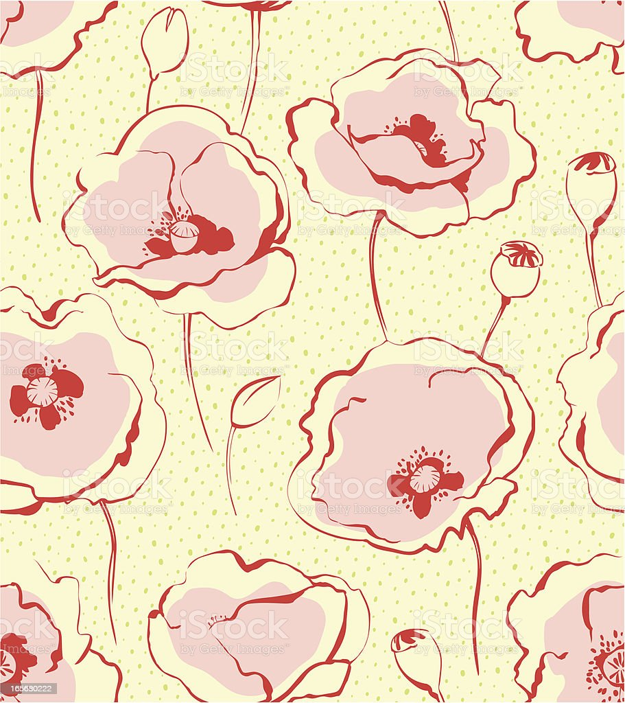 seamless pattern with poppies vector art illustration