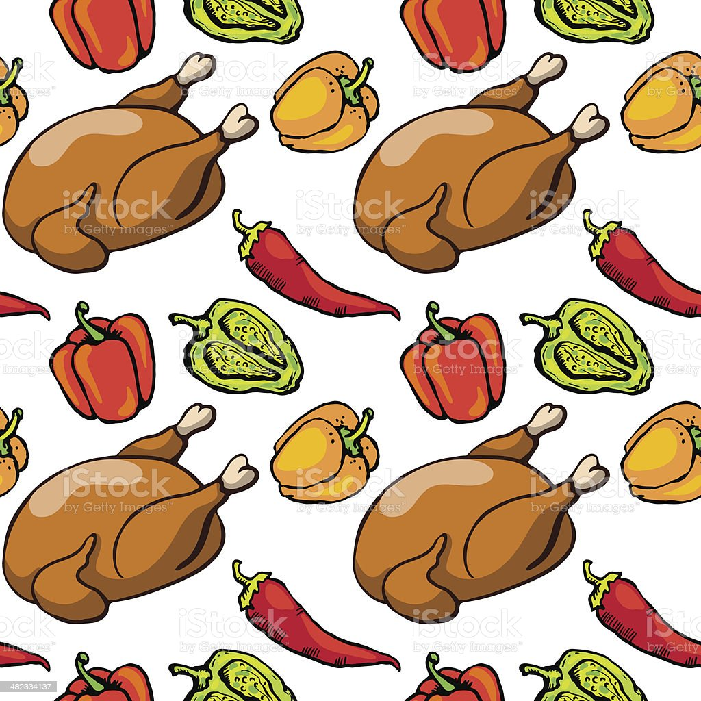 Seamless pattern with poultry and peppers vector art illustration