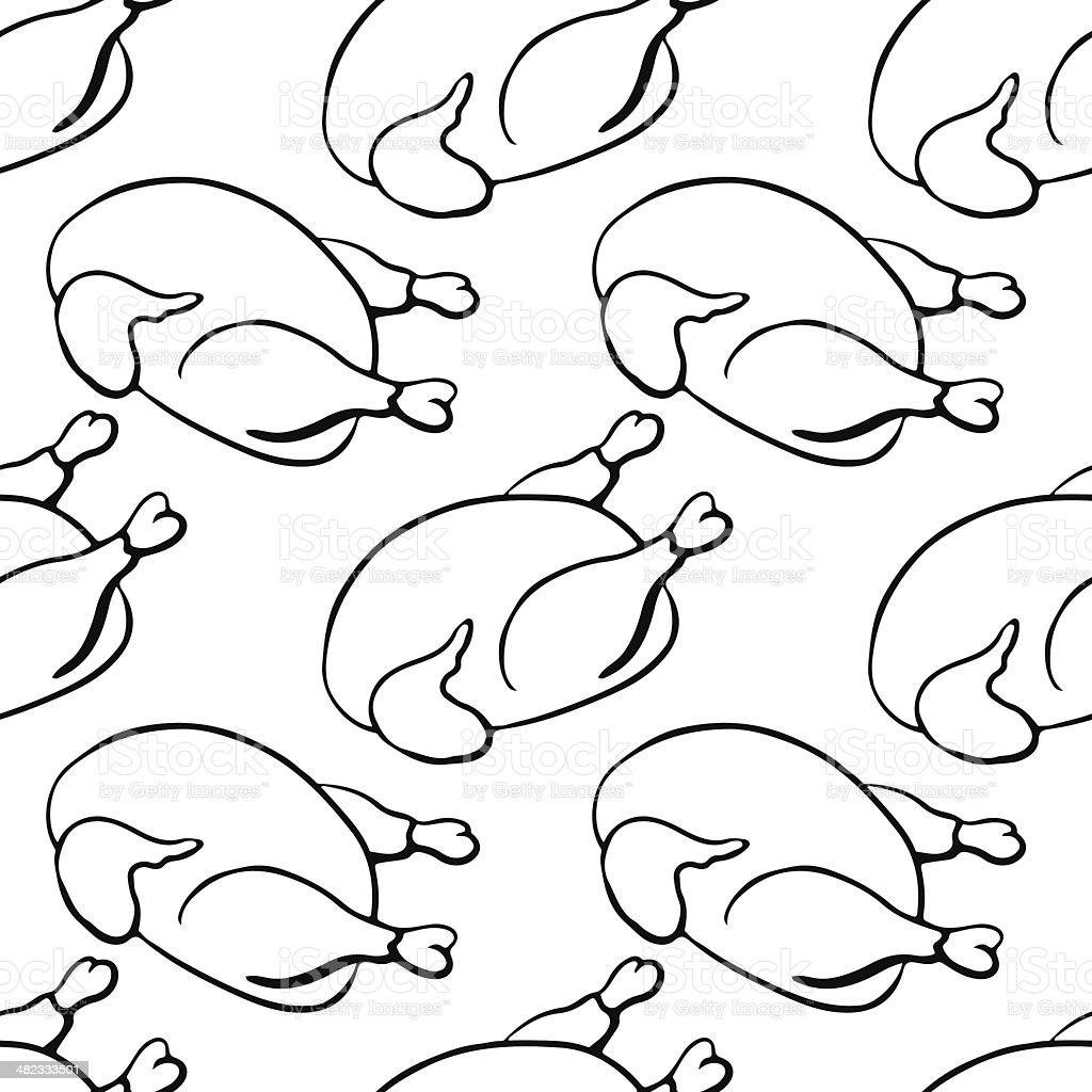 Seamless pattern with poultry vector art illustration