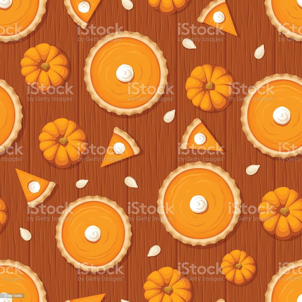 Seamless pattern with pumpkin pies and pumpkins on wooden background. vector art illustration