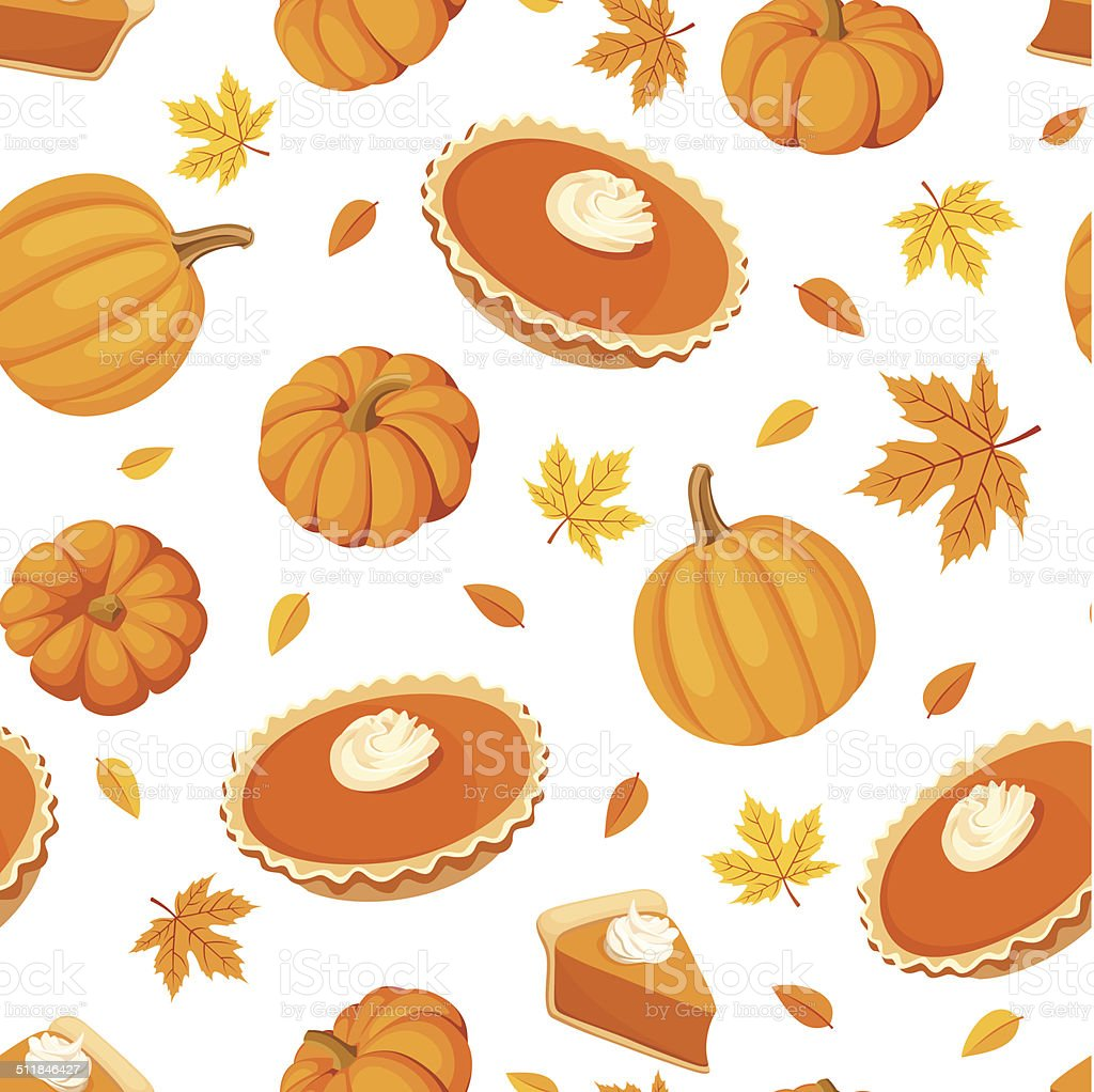 Seamless pattern with pumpkin pies and pumpkins. Vector illustration. vector art illustration