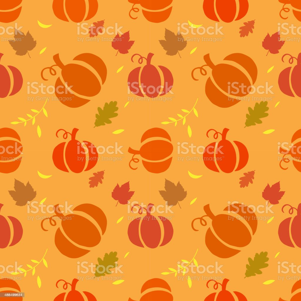 Seamless pattern with pumpkins vector art illustration