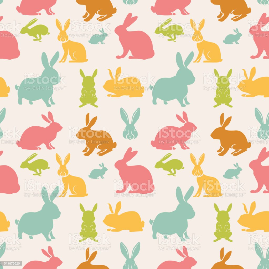 seamless pattern with rabbits vector art illustration