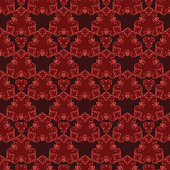 Seamless pattern with red damask ornament.Vector illustration
