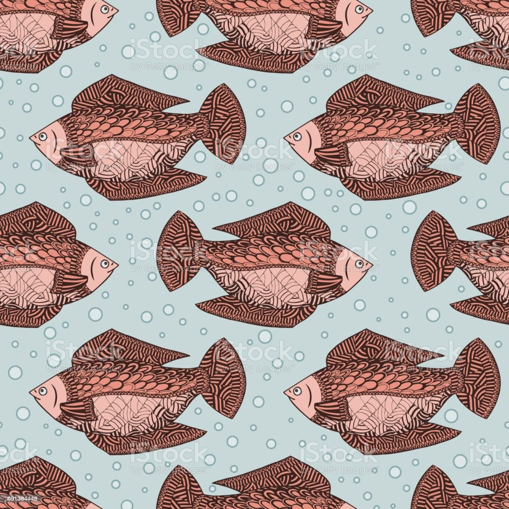 Seamless pattern background with red fish. Undersea wildlife....