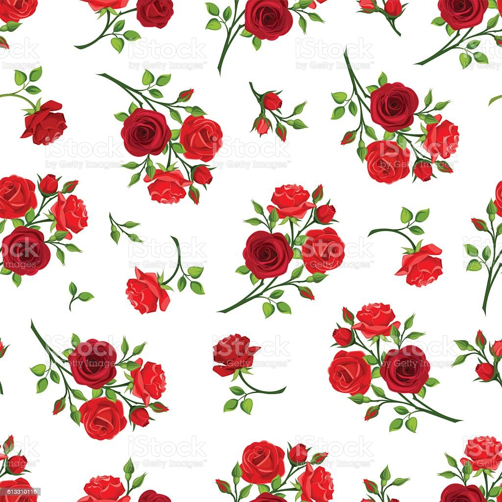 Seamless pattern with red roses branches. Vector illustration. vector art illustration