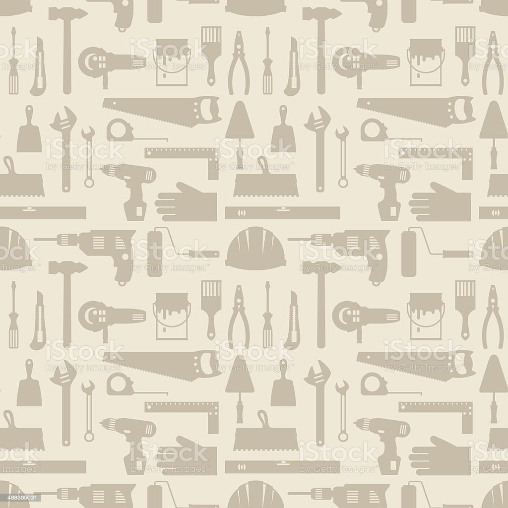 Seamless pattern with repair working tools icons. vector art illustration