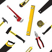 Seamless pattern with repair working tools in flat vector style.
