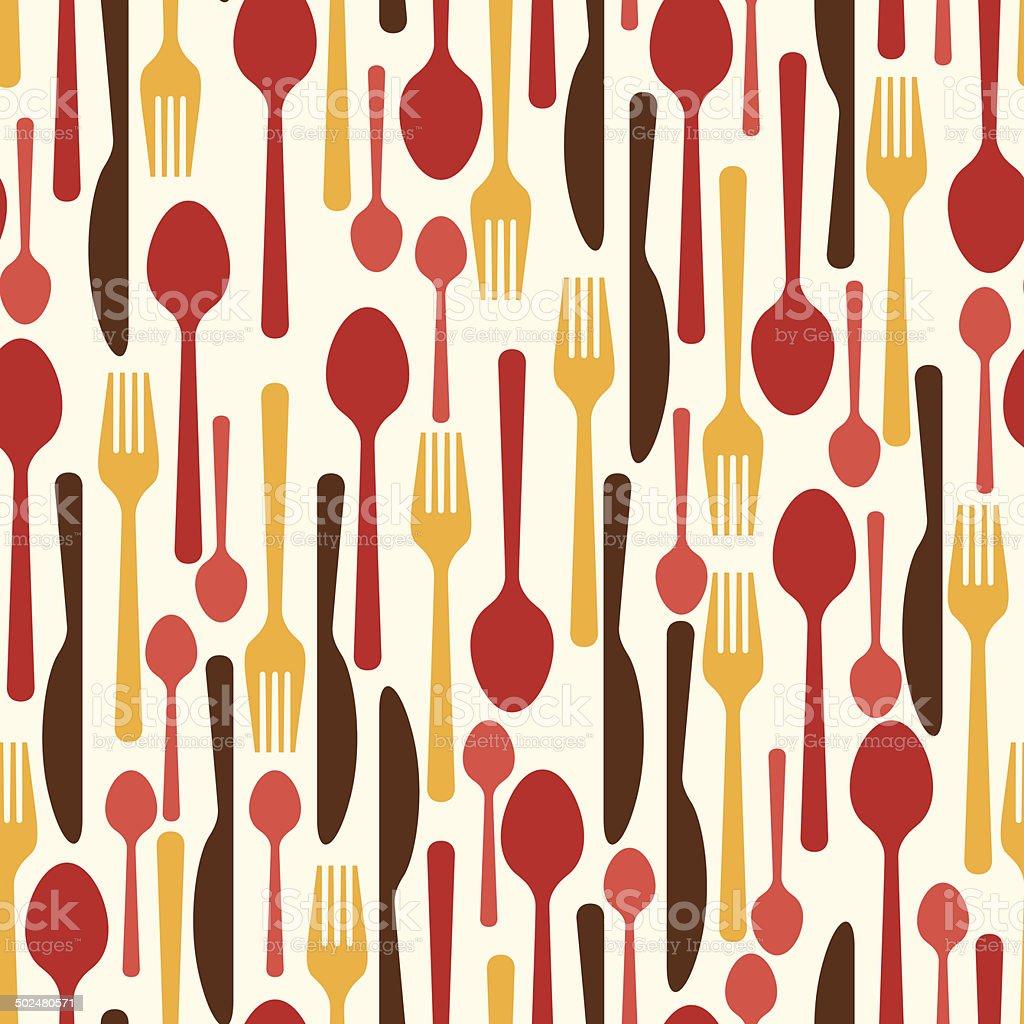 Seamless pattern with restaurant and kitchen utensils. vector art illustration