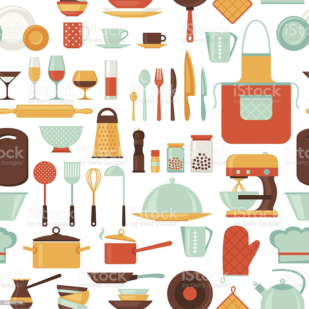 Restaurant Kitchen Utensils seamless pattern with restaurant and kitchen utensils stock vector