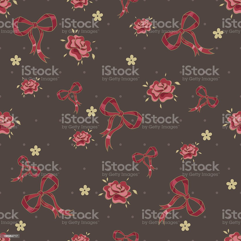 Seamless pattern with ribbons and flowers royalty-free stock vector art